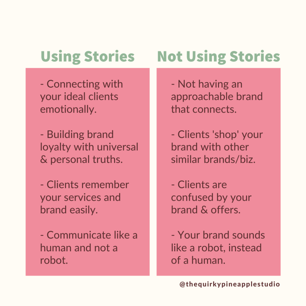 effective storytelling techniques graphic. image reads 'using stories' vs. 'not using stories'