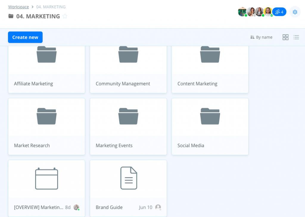 Screenshot of Samepage marketing dashboard