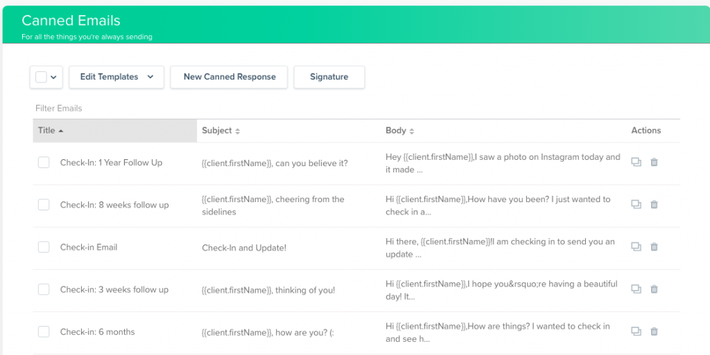 Screenshot of Dubsado email dashboard